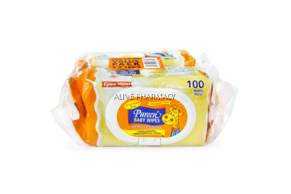 Pureen Baby Wipes Fragrance Free 2X100s