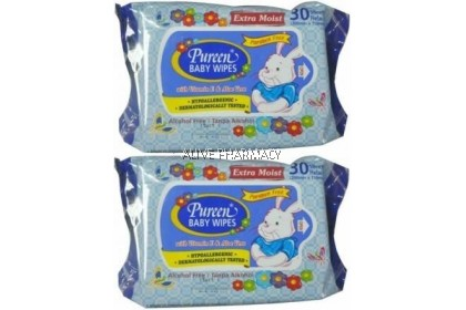 PUREEN BABY WIPES 2X30'S (BLUE)