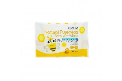K-MOM NATURAL PURENESS BABY WET WIPES 10'S X 3 PACK