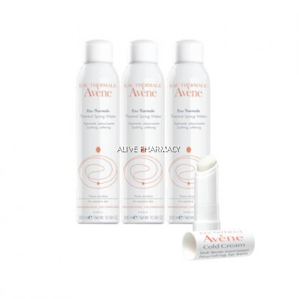 Avene Thermal Spring Water 300ml x3 + Cold Cream Nourishing Lip Balm 4g
