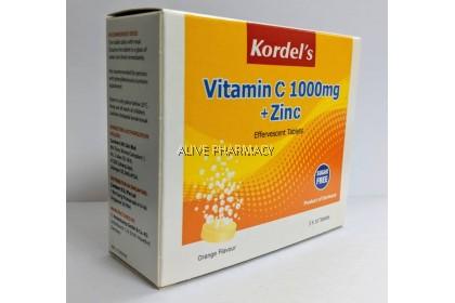 Kordel's Vitamin C 1000mg+Zinc Effervescent (Orange) 3x10 tabs